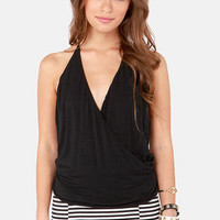 Lay Low Black Halter Top