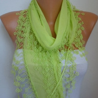 Lime Shawl Scarf - Cotton  Scarf -  Cowl with Lace Edge  pistachio - fatwoman