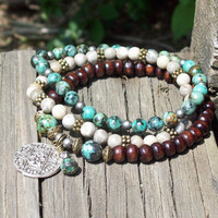 Tribal Bohemian Mix of Three - Beaded Stretch Bracelets - Boho Stackers