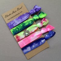 The Flower Charm Tie Dye Hair Tie Collection - 5 Elastic Hair Ties by Elastic Hair Bandz on Etsy