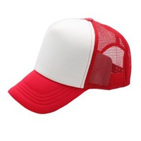 Red Color Block Design Baseball Cap with Grid Sheer Back