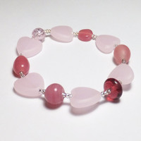 Sweet Pink and Heart Glass Sweetheart Valentine Beadwork Stretch Bracelet