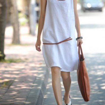Graceful White Linen Vest Dress-NC084 | StylishLife - Clothing on ArtFire