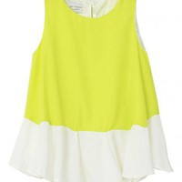 Yellow Chiffon Tank Top with Ruffle Hemline