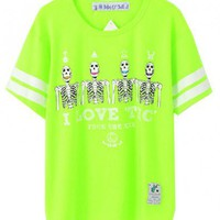 Skull Print Cotton T-shirt with Neon Stripe Sleeves