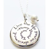 Jewelry Necklace Live The Life You've Dreamed Sterling Silver Charm