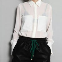 White Semi-sheer Chiffon Blouses with Large Front Pockets