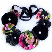 Noir Fabric Lei Necklace by Mademoiselle Mermaid | MademoiselleMermaid - Jewelry on ArtFire