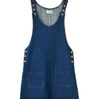 Dark Blue Oversized Denim Pinafore Dress with Patch Pockets