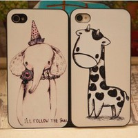 Cute Giraffe and Elephant Case for iPhone4/4S
