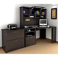 "Walmart: Bush Cabot 60"" Corner Computer Desk, Hutch, and Lateral File Set, Espresso Oak"