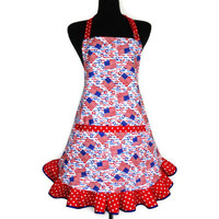 Patriotic Kitchen Apron , American Flags , Red White and Blue , Red Ruffle with White Stars