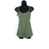 Olive Green Feminine Summer Tank Tunic Womens Clothing Size Small