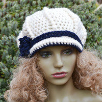 Vintage Style Newsboy  Crocheted Peaked Hat Cream and Navy