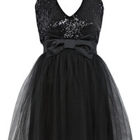 Petites Sequin Bow Tutu Dress