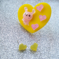 Bunny Love - Sweet Pastel Ring and Earrings Set