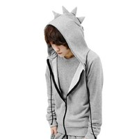Allegra K Mens Zipper Closure Dinosaur Designed Hoody Coat Light Gray M:Amazon:Clothing