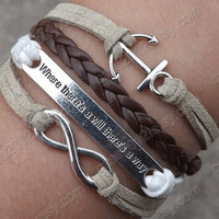 "Bracelet -Antique Silver anchor  bracelet, unlimited bracelet, "" where there's a will there's a way "" bracelet,woven leather bracelet"