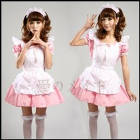 Japanese Cosplay Lolita Maid Coffee Shop Cafe Waitress Costume Dress Pink:Amazon:Toys & Games