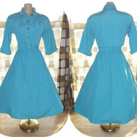 Vintage 80s 50s Atomic Turquoise Rockabilly Lucy Dress M/ L Shirt Waist Full Swing