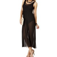 Black Sheer Leotard Maxi Dress