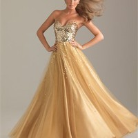 Strapless A-line Sweetheart Sequin Layered Gold Floor-length Prom Dress PD0908