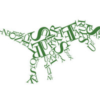 Tyrannosaurus Rex Typographical Work Art Print by DanielBergerDesign