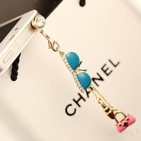 1PC Bling Crystal Sunglasses w/Handbag Charms Antidust Earphone Plug for iPhone 4, 4s, 4g, 5, Nokia, HTC, Samsung S4, S3