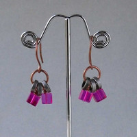 Hot pink bike jewelry cycling bicycle jewelry earrings