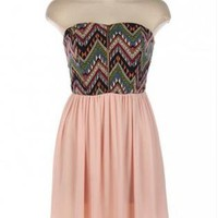 Pink Tribal Chevron Strapless Dress