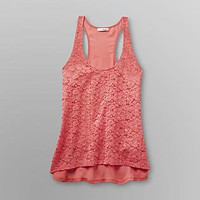 Almost Famous- -Junior's Lace Front Tank Top-Clothing-Juniors-Tops