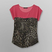 Heart Soul- -Junior's Boxy Top - Leopard-Clothing-Juniors-Tops