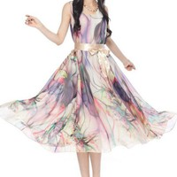 Bohemia Style Flower Printing Slim Sleeveless Dress With Belt Beige _www.global-wholesale.net