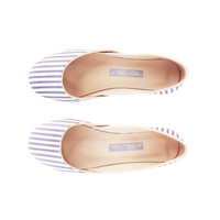 Blue Stripes Ballet Flats
