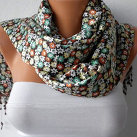 Floral Scarf - Shawl Scarf - Women  Scarf -  Cowl with Lace - Multicolor