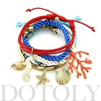 Starfish Seahorse Seashell Charm Bracelet 5 Piece Set from Dotoly