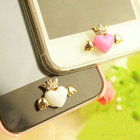 1PC Bling Crystal Heart Wing Crown Home Button Sticker for iPhone 4, 4s, 4g, iPhone 5
