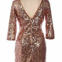 Bronze Sequin V-Back Dress