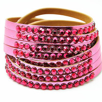 women jewelry bangle pink PU leather with crystal, fashion wrap bracelet, girl bracelet  RZ0296