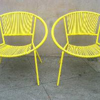 round retro yellow outdoor chair
