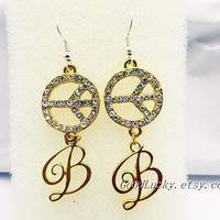 Peace sign Earrings,flowers Earrings,Chain Earrings,Dangle Earrings,lovely Earrings,The ancient Golden Earrings