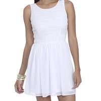 Crochet Chiffon Skater Dress | Shop Dresses at Wet Seal