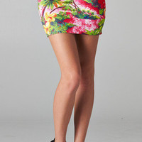 Tropical Print Scuba Skirt