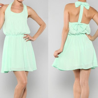 NWT MINT CHIFFON MINI DRESS SLEEVELESS BOW STRAP BACK ELASTIC WAIST LOOSE SHIFT