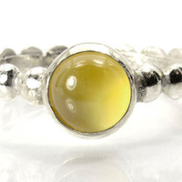 Citrine and Silver Stacking Ring, Sterling Silver Bead Band Ring with Citrine Gemstone