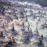 Motorcyclists Racing 75 Miles Cross Country Through Mojave Desert Photographic Print by Bill Eppridge at Art.com
