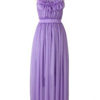 High Waist Summer Maxi Dress in Purple