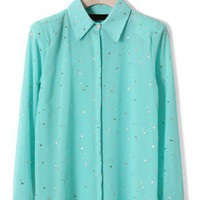 Golden Stars Shirt in Mint Blue