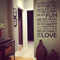 In This House We Do... Vinyl Wall Decal Sticker