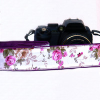 Floral dSLR Camera Strap. Roses Camera Strap. Women accessories